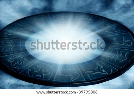 zodiac with beautiful astrological symbol and mystical star light - stock photo