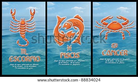 zodiacal signs Cancer, Pisces, Scorpio, Spanish version - stock photo