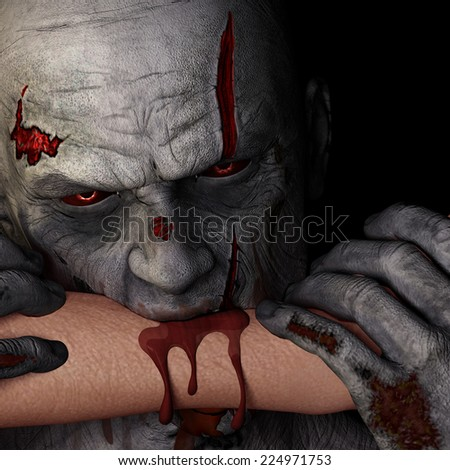Zombie - Bite.  A zombie with red eyes is biting a person's arm. Happy Halloween. - stock photo