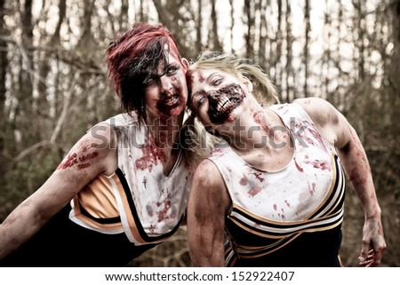 Zombie Cheerleaders - stock photo