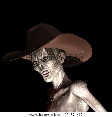 Zombie Cowgirl - A female zombie wearing a cowboy hat. Isolated on black. - stock photo
