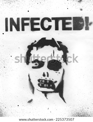 Zombie face stencil - stock photo