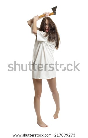 Zombie girl with old axe - stock photo