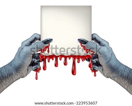 Zombie hands sign as bloody a monster holding a blank blood dripping card on a front view as a creepy halloween or scary horror symbol with textured skin and stitches isolated on a white background. - stock photo