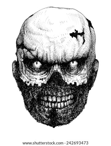 Zombie head. Hand drawn. Jpeg version. - stock photo