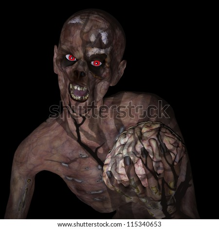 Zombie Holding Brain: An undead Zombie glaring at you with red eyes clutching a brain under the shadow of a spooky tree. Isolated on a black background. - stock photo