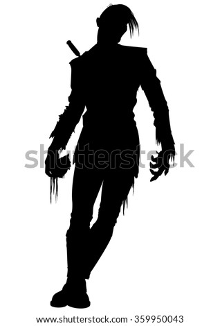 Zombie men silhouette. Illustration strong zombie men with a part of flesh in his hand - stock photo