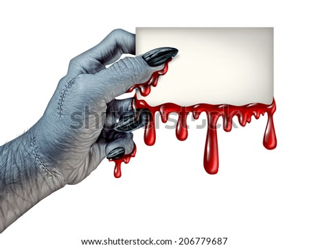 Zombie monster hand holding a blank blood dripping card sign on a side view as a creepy halloween or scary symbol with textured skin monster fingers and stitches isolated on a white background.. - stock photo