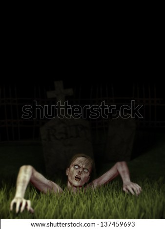 Zombie Rising - A female zombie climbs up through the dirt and grass out of the grave. Sky is solid black. - stock photo