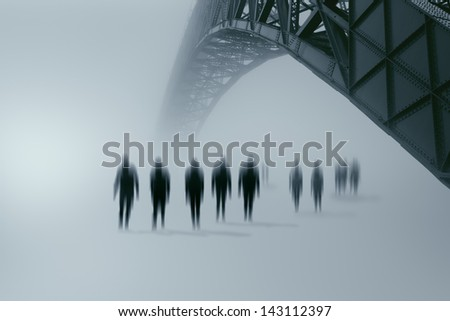 Zombies approaching the city where you live - stock photo