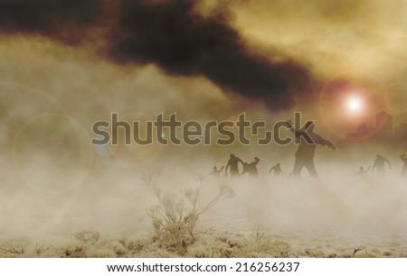 zombies desert horizontal - stock photo