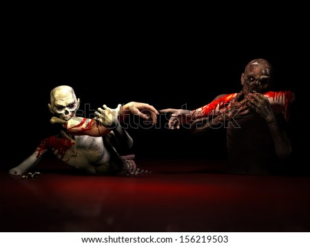 Zombies Eating Creation: Two undead bloody zombies eating arms in the iconic Michelangelo creation of Adam pose. - stock photo