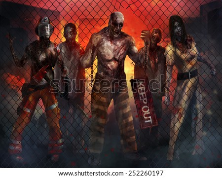 Zombies Walking. Fantasy dead zombies walking through metal fence with burning city background illustration art. - stock photo