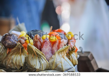 Zongzi , Chinese Rice Dumplings in market: Photo by focusing on a specific point - stock photo