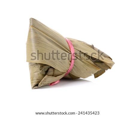 zongzi on white background - stock photo