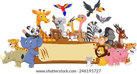 Zoo Animal Cartoon With Blank sign - stock photo