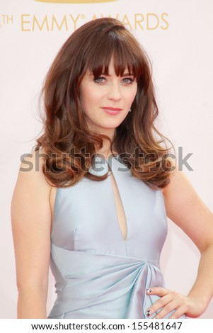 Zooey Deschanel at the 65th Primetime Emmy Awards at the Nokia Theatre, LA Live. September 22, 2013  Los Angeles, CA - stock photo