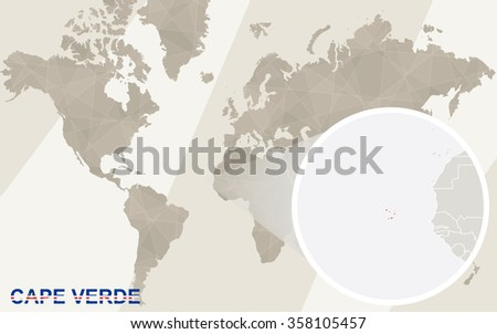 Zoom on Cape Verde Map and Flag. World Map. Rasterized Copy. - stock photo