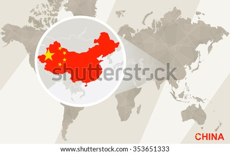 Zoom on China Map and Flag. World Map. Rasterized Copy. - stock photo