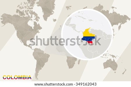 Zoom on Colombia Map and Flag. World Map. Rasterized Copy. - stock photo