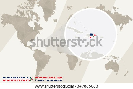 Zoom on Dominican Republic Map and Flag. World Map. Rasterized Copy. - stock photo