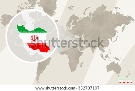 Zoom on Iran Map and Flag. World Map. Rasterized Copy. - stock photo