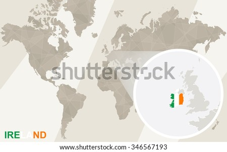 Zoom on Ireland Map and Flag. World Map. Rasterized Copy. - stock photo