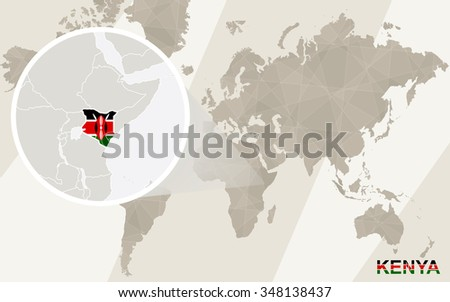 Zoom on Kenya Map and Flag. World Map. Rasterized Copy. - stock photo