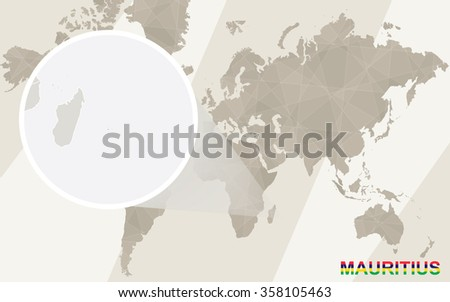 Zoom on Mauritius Map and Flag. World Map. Rasterized Copy. - stock photo