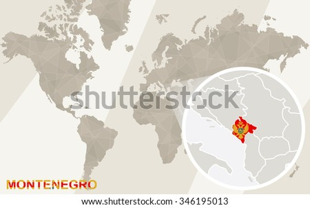 Zoom on Montenegro Map and Flag. World Map. Rasterized Copy. - stock photo