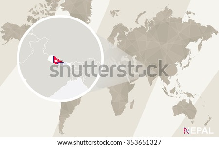 Zoom on Nepal Map and Flag. World Map. Rasterized Copy. - stock photo