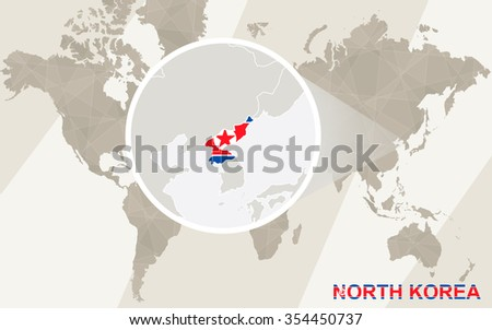 Zoom on North Korea Map and Flag. World Map. Rasterized Copy. - stock photo