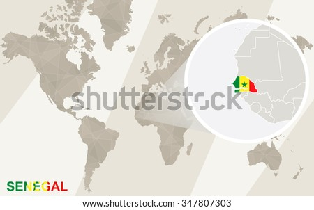Zoom on Senegal Map and Flag. World Map. Rasterized Copy. - stock photo