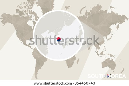 Zoom on South Korea Map and Flag. World Map. Rasterized Copy. - stock photo