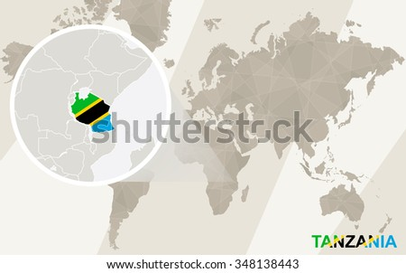 Zoom on Tanzania Map and Flag. World Map. Rasterized Copy. - stock photo