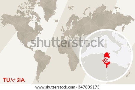 Zoom on Tunisia Map and Flag. World Map. Rasterized Copy. - stock photo