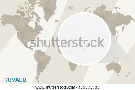 Zoom on Tuvalu Map and Flag. World Map. Rasterized Copy. - stock photo