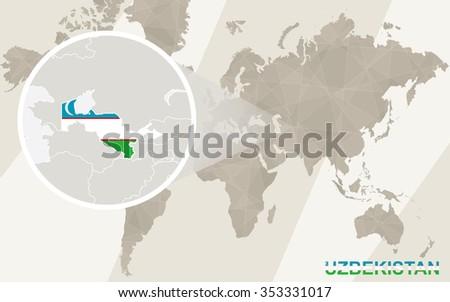 Zoom on Uzbekistan Map and Flag. World Map. Rasterized Copy. - stock photo