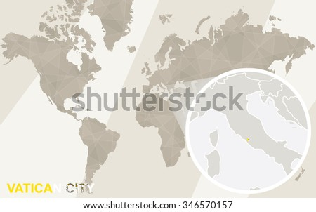 Zoom on Vatican City Map and Flag. World Map. Rasterized Copy. - stock photo