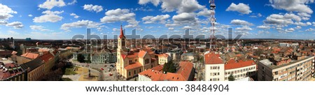 Zrenjanin Capital of Banat Region in Serbia City Panorama - stock photo