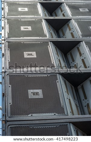 Zrenjanin, SERBIA: May 2016, JBL VT4889 3-Way Line Array Element, Composite Box loudspeakers cluster used for emmiting sound on event Begej 2016 Military Parade - stock photo