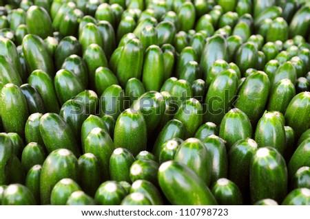 Zucchini at a farmers' market - stock photo