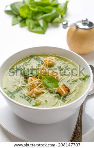 Zucchini Cream Soup with Croutons - stock photo