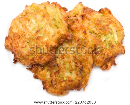 zucchini fritters on a white background - stock photo