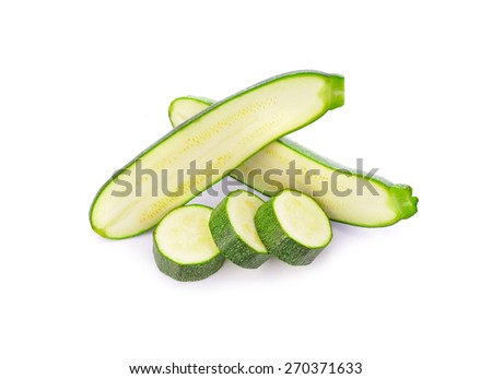 Zucchini isolated on a white background, fresh, sliced - stock photo