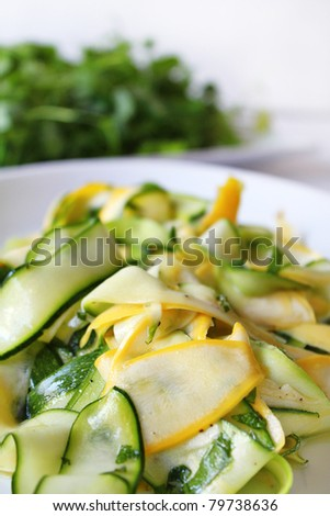 zucchini or courgette summer fresh salad - stock photo