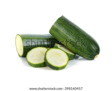 zucchini with slices isolated on white background - stock photo