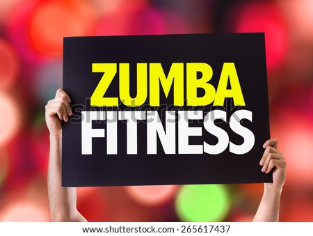 Zumba Fitness card with bokeh background - stock photo