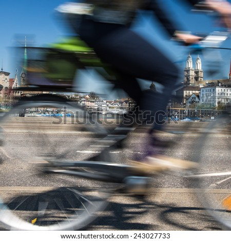 Zurich cityscape with motion blurred city traffic - stock photo
