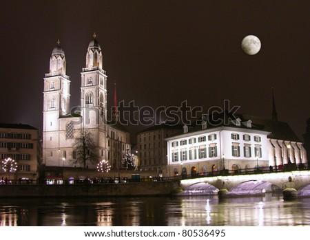 Zurich downtown at night, Switzerland - stock photo